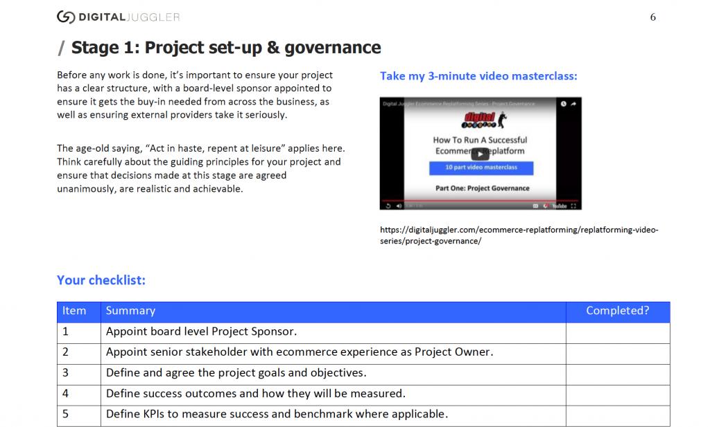 Ecommerce Replatforming Checklist Sample